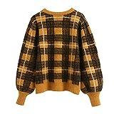 NOBRAND Mujeres Elegantes patrón de Cuadros Amarillos suéter Dulce señoras Vintage Tops de Punto de Gran tamaño