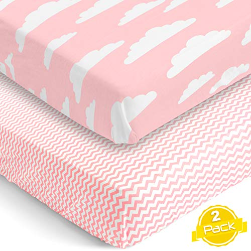 BaeBae Goods Crib Sheets Set for Boys & Girls | Super Soft 100% Jersey Knit Cotton | 150 GSM (Extremely Soft) | 2 Pack
