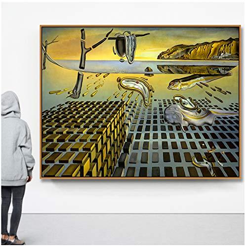 yhyxll Salvador Dali La desintegración de la persistencia de la Memoria por elLienzo de Pintura Pintura Poster Wall Pictures Home Decor -70x100cm Sin Marco