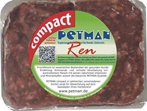 petman compact Rentier, 12 x 500g-Beutel, Tiefkühlfutter, gesunde, natürliche Ernährung für Hunde, Hundefutter, Barf, B.A.R.F.