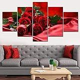 SJVR 5 lienzos Modular Pintura de Arte Moderno impresión de Pared en Vivo 5 unids/Set Rosa roja Foto Lienzo HD decoración Cartel de Imagen Modular