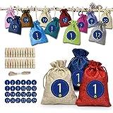 24 Stück Jutesäcke mit Kordelzug, Wiederverwendbare Jute-Geschenktüten Adventskalender zum Füllen des Weihnachtskalenders 2020 Ausgestattet mit Hanfseilen mit Aufklebern
