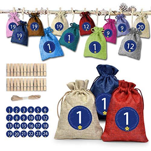 Kylewo 24 adventskalender voor het vullen van -kantoortas, 24 nummers stickers jutezak voor de adventskalender voor het knutselen en vullen, kerstambachtelijke tas