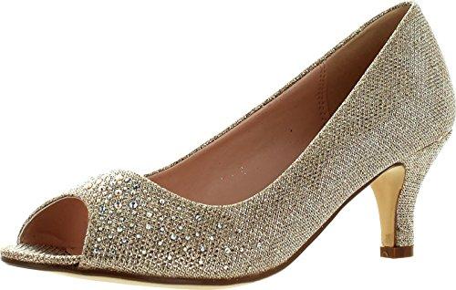 Bonnibel Wonda-2 Womens Peep Toe Low Heel Glitter Slip On Dress Pumps,Champagne,9
