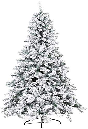 Oakmont 7 FT Artificial Christmas Tree, Snow Flocked Hinged Pine Frosted Christmas Tree Holiday Decoration, w/Metal Stand, 1,000 Branch Tips