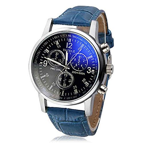 Herren Quartz Analog Armband Piebo Mode Uhren PU Lederband Runde Gehäuse Fashion Watches Dekoration Sportuhr Geschäftsuhr Business Uhren mit Datum für Bruder Freund Ehemann Vatertag Geschenk (B)