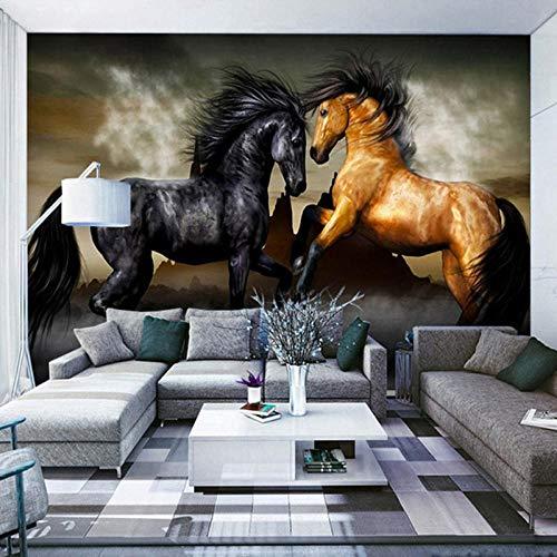 Fotomurales Mural Decoración de pared Caballo animal pareja romántica Moderna Fotográfico Papel Pintado Salón Dormitorio Despacho Pasillo Decoración murales 200x150cm