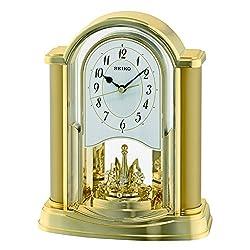 Seiko Rotating Pendulum Clock Gold, Wood, 10x20x25 cm