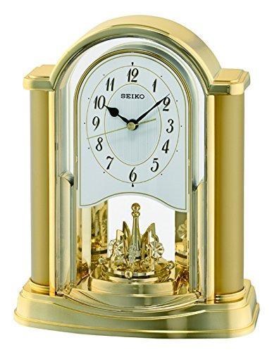Seiko QXN228G - Orologio da tavolo con pendolo girevole in plastica, colore: Oro