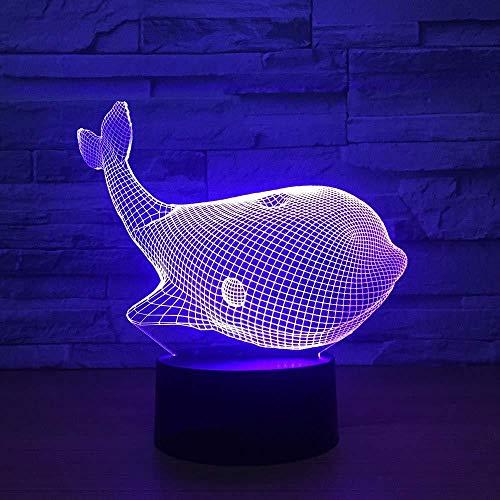 Lámpara de ilusión 3D regalo lámpara de noche delfín mesa decoración de escritorio para decoración del hogar regalos perfectos festival de cumpleaños con carga USB, cambio de color colorido