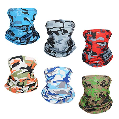 Outdoor Sun UV Protection Face Mask Neck Gaiter Windproof Scarf Sunscreen Breathable Bandana Balaclava (6 Pack-COLORS1)