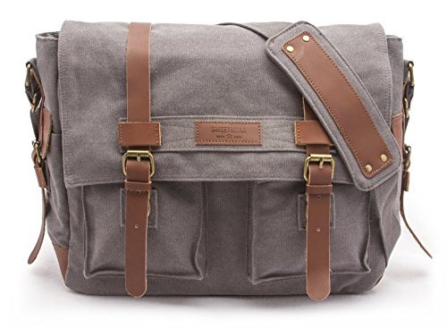 Sweetbriar Classic Laptop Messenger Bag, Gray - Canvas Pack Designed to...
