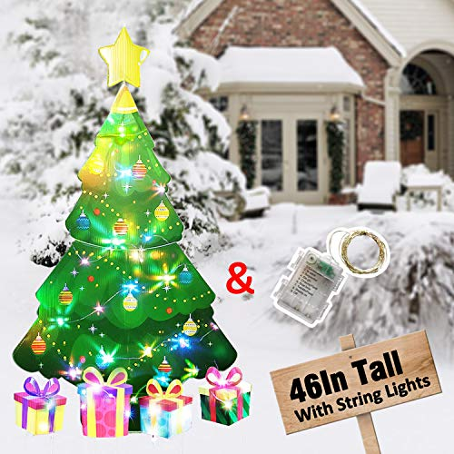 HOSKO Christmas Tree Decor, 45inch Xmas Yard Signs Stakes with String Lights, Xmas Decorations for Outside Outdoor Giant Holiday Candyland Themed Party Walkway Pathway Lawn Garden