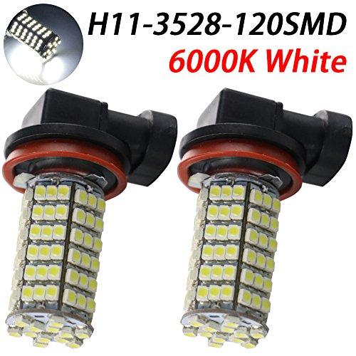 TABEN 9005 HB3 LED Feu de brouillard 120 LEDs 3528 SMD Blanc pur Auto Source de lumière de brouillard Conduite ampoule lampe DC 12 V (lot de 2)