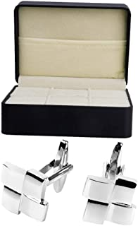 1 Pair Cufflinks Mens Geometrical Shape with Cuff Link Box Suit Shirt Gift