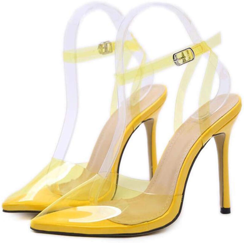 Women Pump color Transparent Ankle Straps Sandals Sexy Pointed Toe 12cm Stiletto PVC Slingbacks OL Party Dress shoes EU Size 35-40