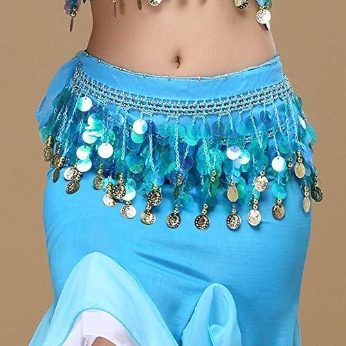 Belly Dance Color Gaas Taille ketting opknoping Coin Hip Sjaal Belt Verhoogt Indian Dance Taille Chain