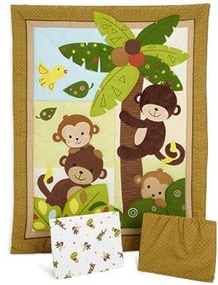 Bedtime Originals Curly Tails Monkey 3-Piece Baby Crib Bedding Set, Brown