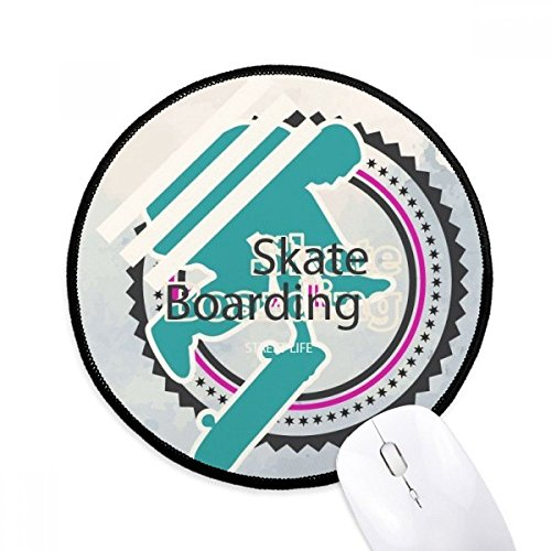 DIYthinker Sport Snowboarden Atleten Illustratie Ronde Antislip Mousepads Zwart Titched Edges Game Office Gift