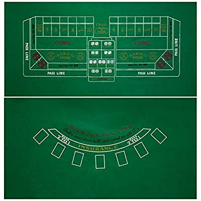 """GSE Games & Sports Expert 2-Sided 36""""x72""""Casino Tabletop Felt Layout Mat (Blackjack, Craps, Roulette, Texas Hold'em Available) (Blackjack/Craps Layout)"""