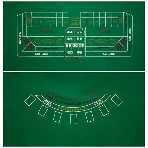 GSE Games & Sports Expert 2-Sided 36'x72' Blackjack and Craps Casino Tabletop Felt Layout Mat