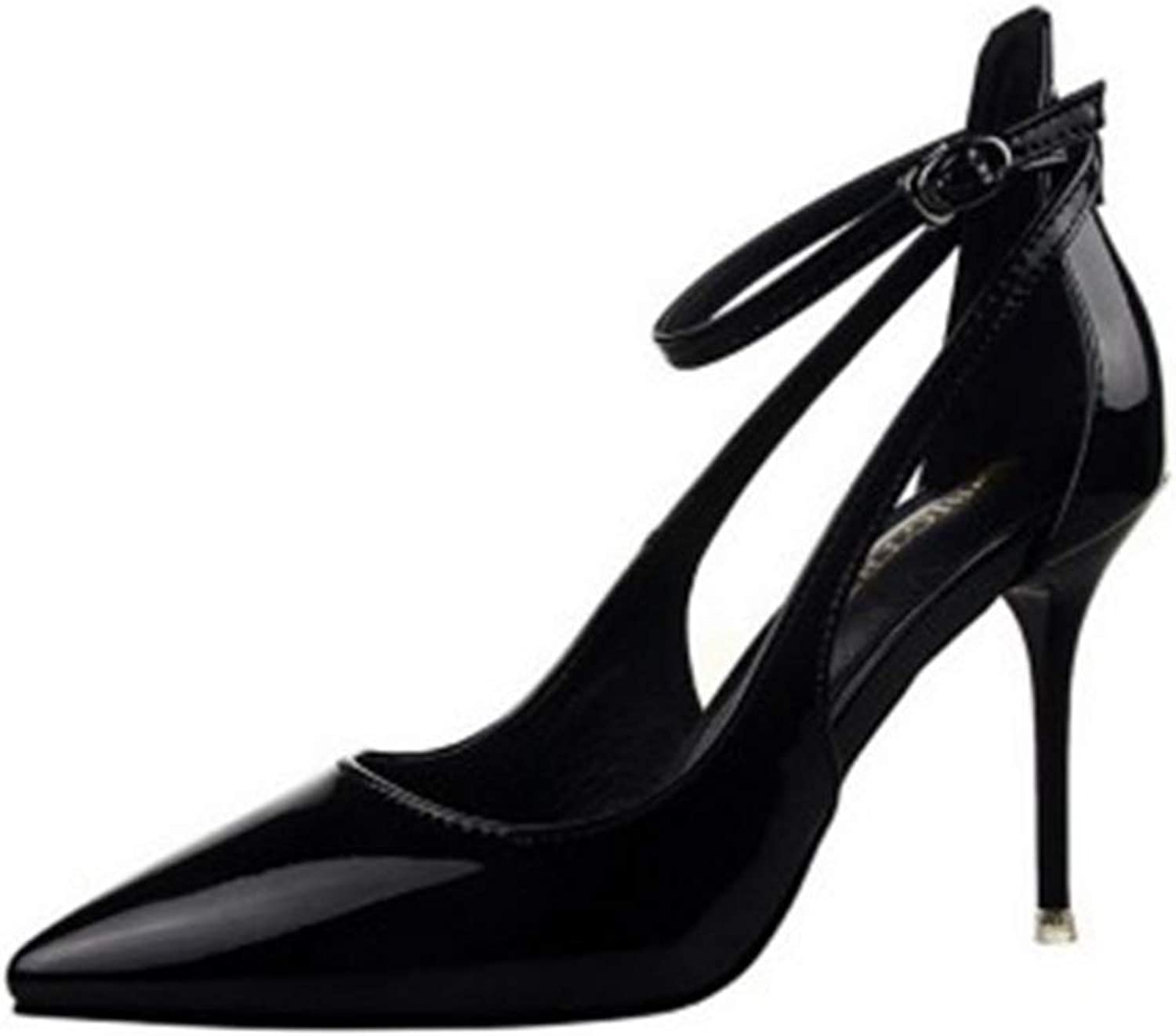 Drew Toby Women Pumps Cut-Outs Pointed Toe Patent Leather Buckle Shallow High Heels 9.5cm