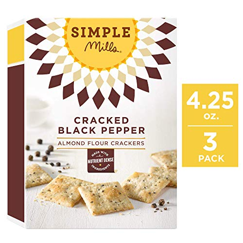 Simple Mills Almond Flour Crackers, Cracked Black Pepper, 4.25 Ounce (Pack of 3)