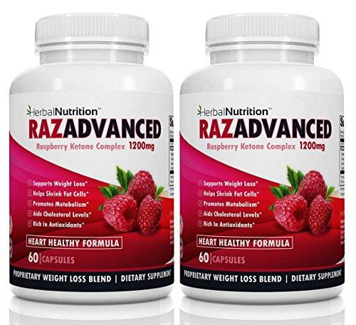 Raspberry Ketones Weight Loss Complex, 2 Bottle Pack, 120 Capsules, 1200mg Per Serving African Mango, Apple Cider Vinegar, Green Tea and Kelp