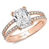 Clara Pucci 4.35 CT Cushion Brilliant Cut Solitaire Engagement Ring 14K Rose Gold Bridal Jewelry, Size 10.75