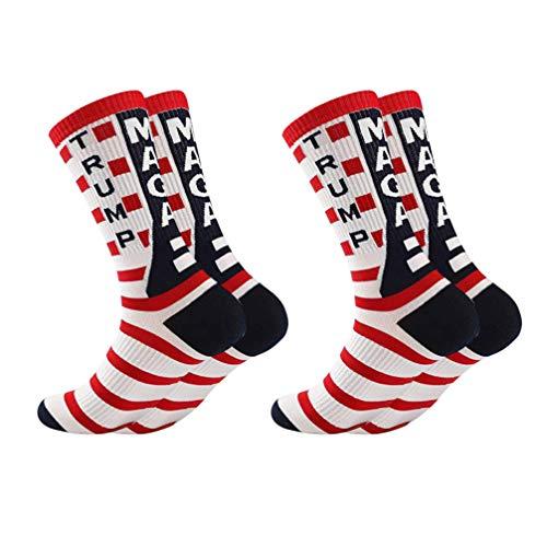 Amosfun 2 Pares de Calcetines de La Bandera Americana Calcetines de Vestir de La Tripulación Casual Regalo de Año Nuevo 2020 (Negro)