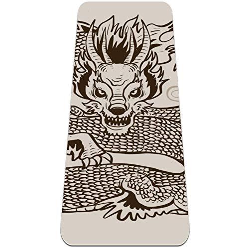 BestIdeas Esterilla de yoga de dragón tatuaje animal para yoga, pilates, ejercicio de suelo para hombres, mujeres, niñas, niños, principiantes, diseño antideslizante