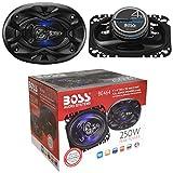 2 Altavoces Compatible con Boss Audio Systems BE464 BE 464 coaxial de 4 vías 4' x 6' 10,20 x 15,20 cm 102 x 152 mm 125 vatios rms 250 vatios máx 4 ohmios 90 db led Azul y suspensión de Goma, por par