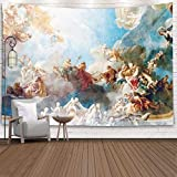 Sertiony Tapestry Wall Hanging,Tapestry Décor 60X50 Inchparis France April 18 Ceiling Painting in Hercules Room of the Royal Chateau Versailles on 2015 for Bedroom Colorful Big Tapestries,Purple Green