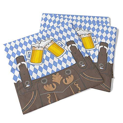 20x Servietten 33x33 cm Wiesn Bayrisch Oktoberfest blau weiß Bayern Partyset Deko Dekoration Tischdekoration (20x Stück)