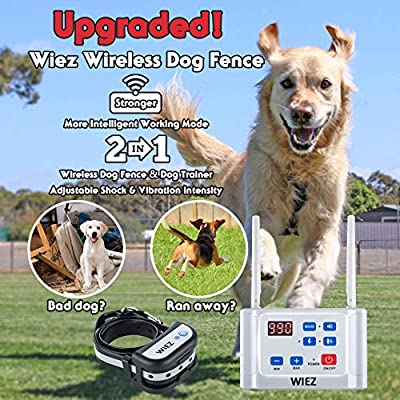 WIEZ Wireless Dog Fence Electric & Training Collar 2-in-1, Dual Antenna, Adjustable Range 100-990 ft, Adjustable Warning Strength, Rechargeable,Pet Containment System (2 Collar + 20 Flags)