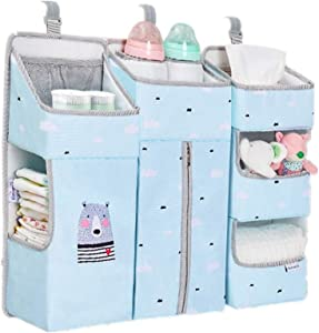 Lwieui Baby Bed Organizers Nursery And Diaper Organizer For Hanging Crib Changing Table Wall And Closet Waterproof Material Nursery Organizer  Color Blue  Size 66X13X50CM