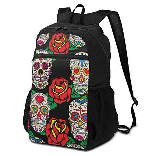 Fashion Backpack Seamless Skulls And Red Roses Big Shoulder Backpacks Bag Bookbag Daypack