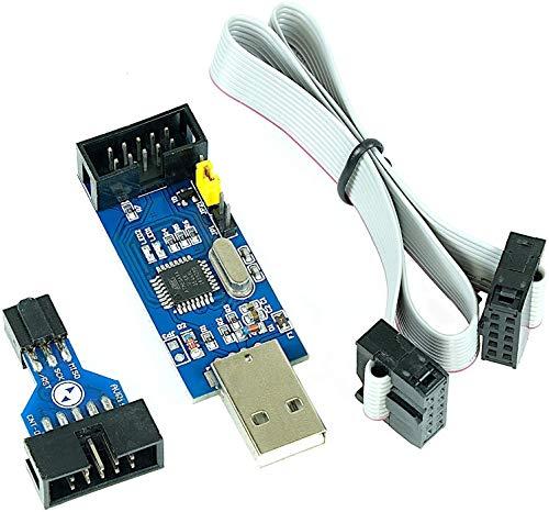 Paradisetronic.com Dispositivo de Programación USBasp 3.3V 5V con Adaptador ISP y Cable, Programador ISP USB para Atmel AVR y Arduino