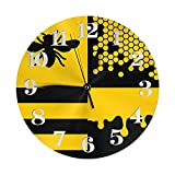 Reloj Panal y Abeja Relojes de Pared con Pilas Reloj Decorativo Redondo Reloj de Pared fácil de Leer para Sala de Estar Oficina en casa Escuela de 10 Pulgadas