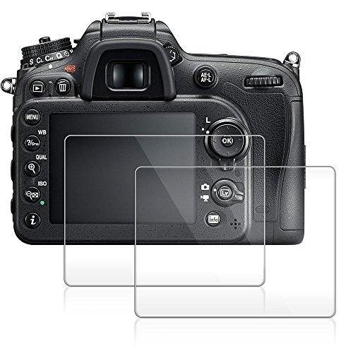 Camera Screen Protector for Nikon D7200 D7100 D800 D800e D810 D750 D600 D610 D500, AFUNTA Anti-scratch 9H LCD Tempered Glass(2 Pack)