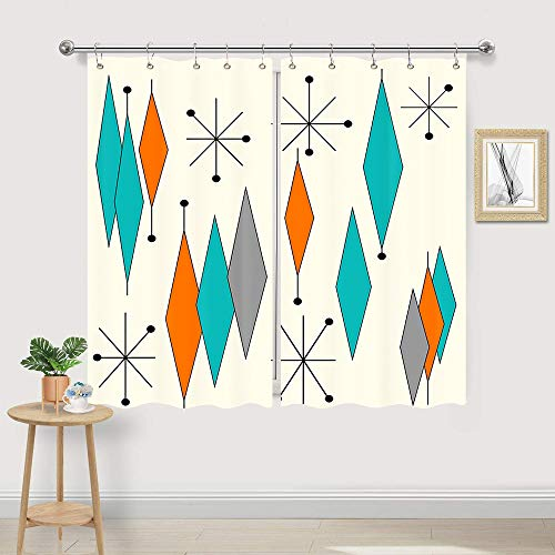 Vintage Mid Century Diamond Kitchen Curtain, Mid-Century Modern Mid Retro Grid and Orange Century Window Curtain Valance for Kitchen Small Cafe Curtains for Window Treatment Set with Hooks, 55X39 IN