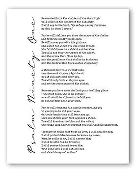 Psalms 91 Wall Art - Inspirational Scripture Prints - 8x10 - Unframed
