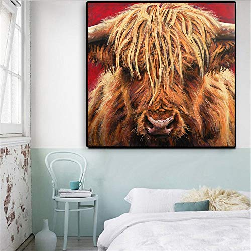 KWzEQ Print on canvas Highland Cattle for Bedroom Home Decorations,70x70cm,Frameless painting