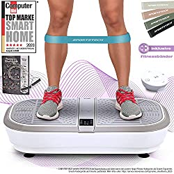 Sportstech professional vibration plate VP300 with 3D rocker vibration technology, 2x1000W max motors power + Bluetooth music, huge area, unique design + training bands + remote control + poster