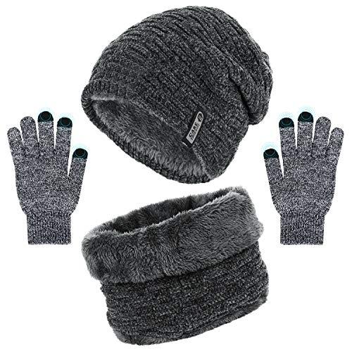 Gorro Invierno Hombre, Bufanda Gorro Guantes para Hombre Invierno Regalos para Mujer Unisexo Set, Engrosamiento Gorro de Punto Sombrero de Esquí para el Invierno,Suave al Tacto