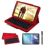 REAL-EAGLE Coque Galaxy Tab A 10.1 QWERTY Clavier Bluetooth Étui Housse, sans Fil Bluetooth Keyboard Cuir Smart Case Clavier pour...