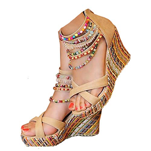 Getmorebeauty Women's Wedge Sandals Pearls Across The Top Platform High Heels 8 B(M) US