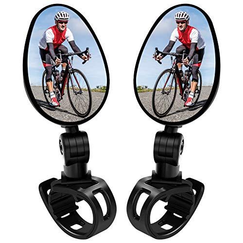 EEEKit 2 Pack Fahrradspiegel Universal Mini 360° Rotaty Rückfahrkamera Lenker Glas Spiegel für Bike Fahrrad Ebike Scooter Links und Rechts Lenker Seitenspiegel Fahradrückspiegel