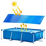 9.8 x 6.5ft Square Pool Solar Cover Protector Pool Cover, Heating Blanket for In-Ground and Above-Ground Square Swimming Pools, Use Sun to Heat Pool Water, Place Bubble-Side Facing Down in Pool