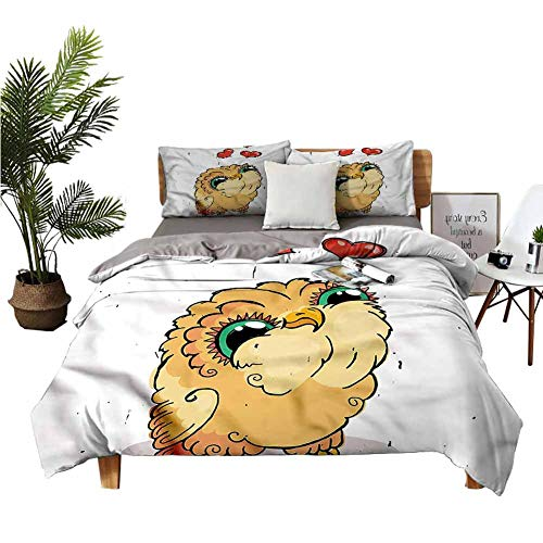 DRAGON VINES king size bed Doodle Style Owl with Hearts Hotel Bed Sheets Blue bed sheet W90 xL90